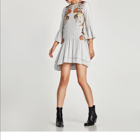 c48989db Zara Dresses | New Wtag Floral Light Grey Dress Wfrills Xs | Poshmark